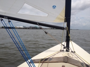 Sailing off the coast of Cedar Key, Fla., Sunday, July 20, 2014.